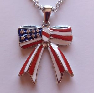 NWT Cookie Lee Patriotic Bow Necklace